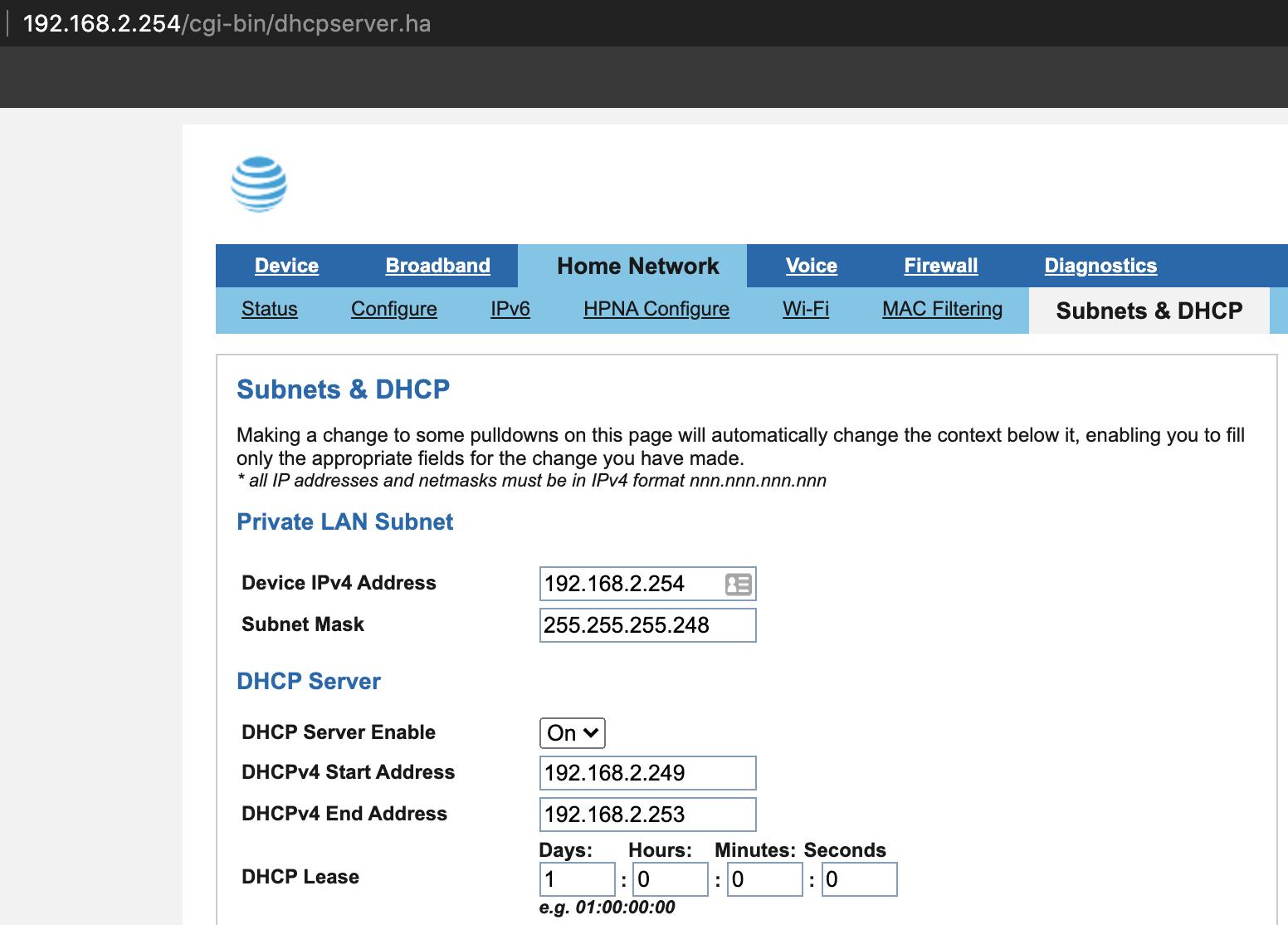 modem router subnets